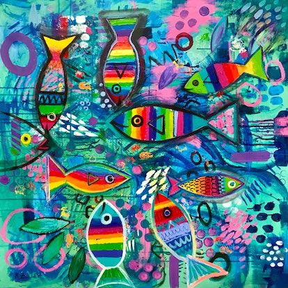 Abstract rainbow fish on blue,textured background.