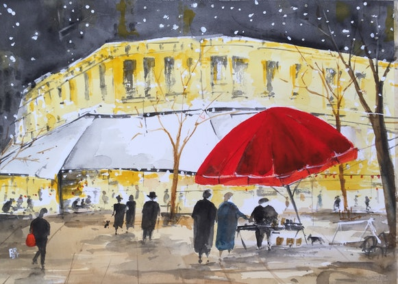 (CreativeWork) Midnight in Paris II by Bernd Rieve. Watercolour Paint. Shop online at Bluethumb.