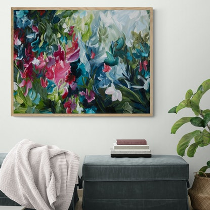 (CreativeWork) Dancing in Nature - Abstract Floral Painting by Amber Gittins. Acrylic Paint. Shop online at Bluethumb.