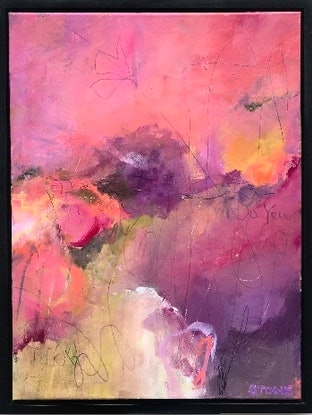 (CreativeWork) VIOLET RUSH - FRAMED - ABSTRACT  by Belinda Stone. Mixed Media. Shop online at Bluethumb.