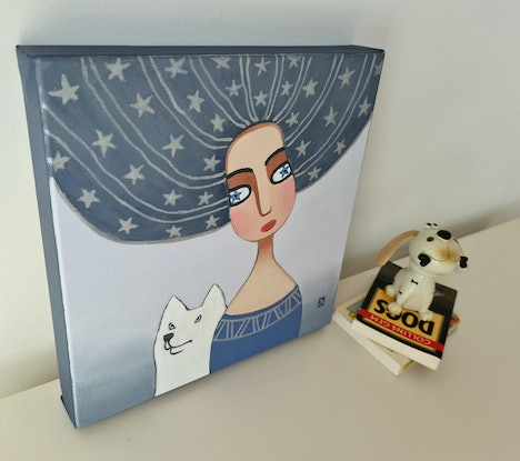 Woman with white dog