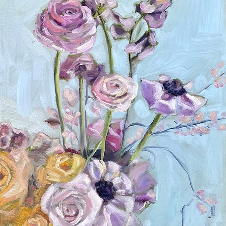 (CreativeWork) Lilac and Apricot Bouquet by Holly Harper. Oil. Shop online at Bluethumb.