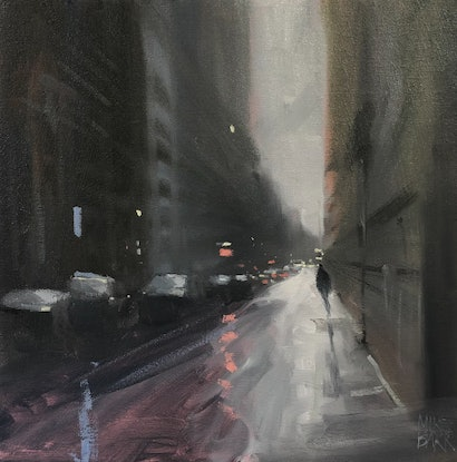 (CreativeWork) The Rain on Flinders Lane! - rainy-day cityscape - rainy cityscape by Mike Barr. Oil Paint. Shop online at Bluethumb.