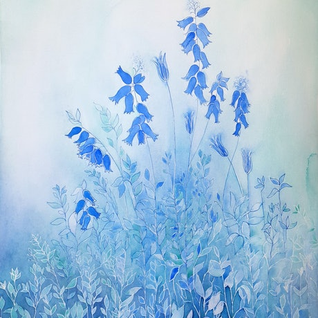 (CreativeWork) The Beauty of Bluebells  by Lucinda Leveille. Watercolour Paint. Shop online at Bluethumb.