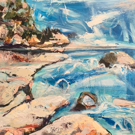 (CreativeWork) Meroo  Beach by Ann Rayment. Oil Paint. Shop online at Bluethumb.