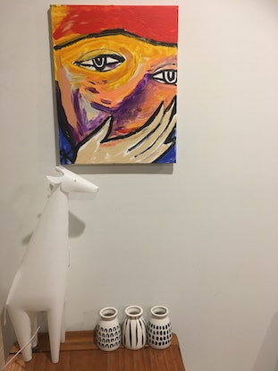 (CreativeWork) Ceres sitting in truth.  by Kate Rogers. Acrylic Paint. Shop online at Bluethumb.