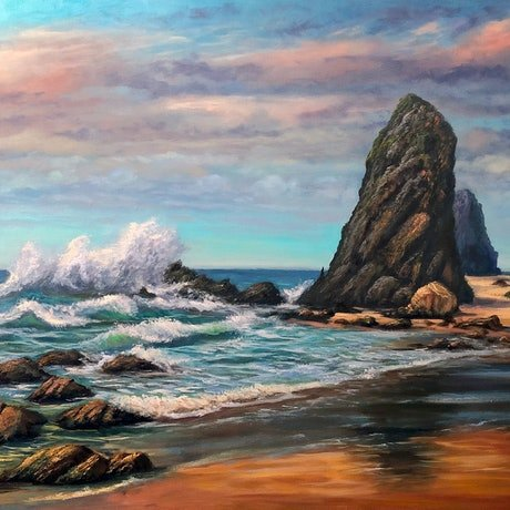 (CreativeWork) Glasshouse Rocks, Narooma, NSW - ready  to hang  by Christopher Vidal. Oil Paint. Shop online at Bluethumb.
