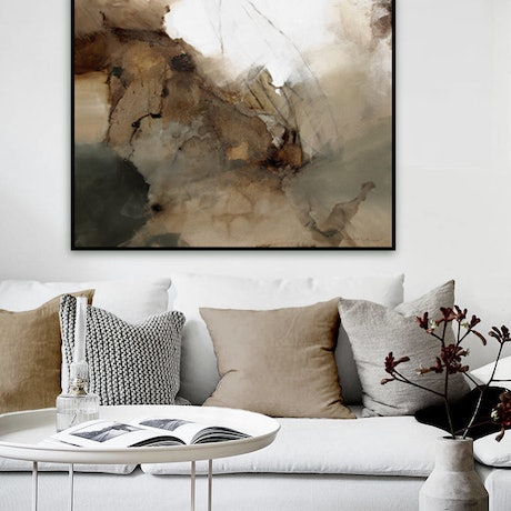 (CreativeWork) Mudita - large neutral abstract by Stephanie Laine. Mixed Media. Shop online at Bluethumb.