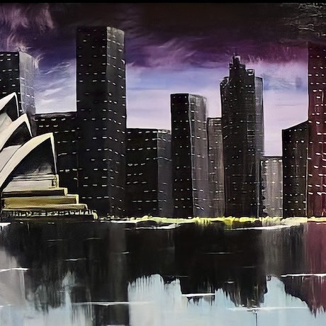(CreativeWork) shadow of Sydney  by Rafeal Jacoub. Oil. Shop online at Bluethumb.