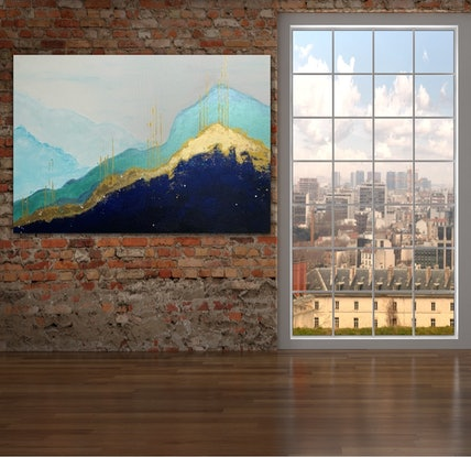 (CreativeWork) Golden Mountains by Tom Roso. Acrylic. Shop online at Bluethumb.
