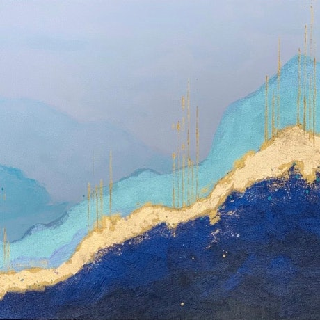 (CreativeWork) Golden Mountains by Tom Roso. Acrylic Paint. Shop online at Bluethumb.