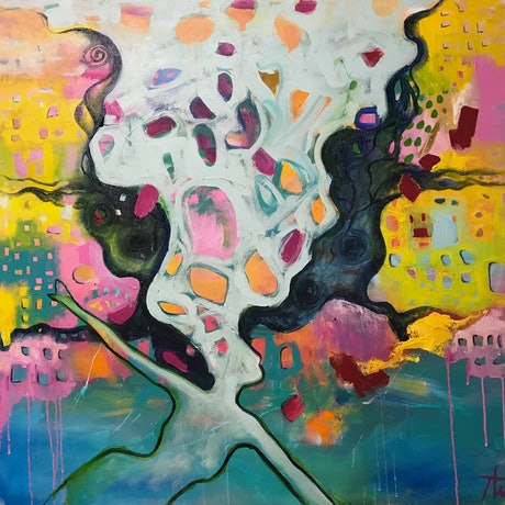 (CreativeWork) Battlefield of the Mind by Tania Weekes. Acrylic Paint. Shop online at Bluethumb.