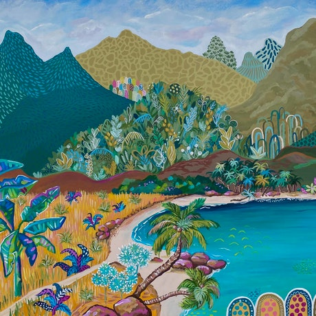 (CreativeWork) Tranquility - Tropical abstract landscape by Daniela Fowler. Acrylic Paint. Shop online at Bluethumb.