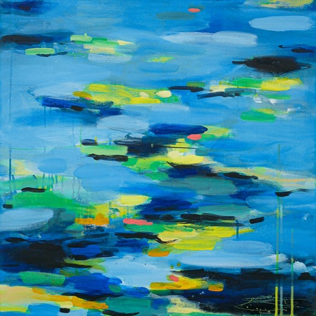 (CreativeWork) A tribute to Monet 2 by Olga Dziemidowicz. Acrylic. Shop online at Bluethumb.