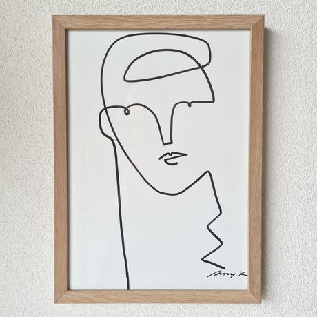 (CreativeWork) Have a think *Framed  by Amy Kim. Acrylic Paint. Shop online at Bluethumb.
