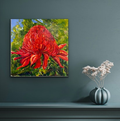 (CreativeWork) Ruby Red by Sue Burton. Acrylic Paint. Shop online at Bluethumb.