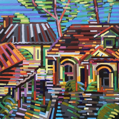 (CreativeWork) Houses by D.M. Ross. Oil Paint. Shop online at Bluethumb.