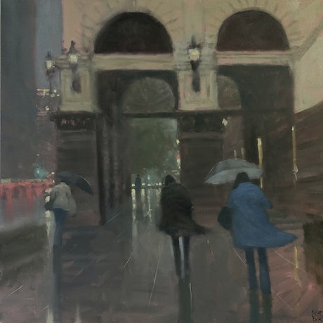 (CreativeWork) Town-Hall Showers - Melbourne by Mike Barr. Oil Paint. Shop online at Bluethumb.