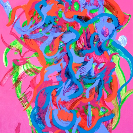 (CreativeWork) Pink Flower Dance by Josephine Window. Acrylic Paint. Shop online at Bluethumb.