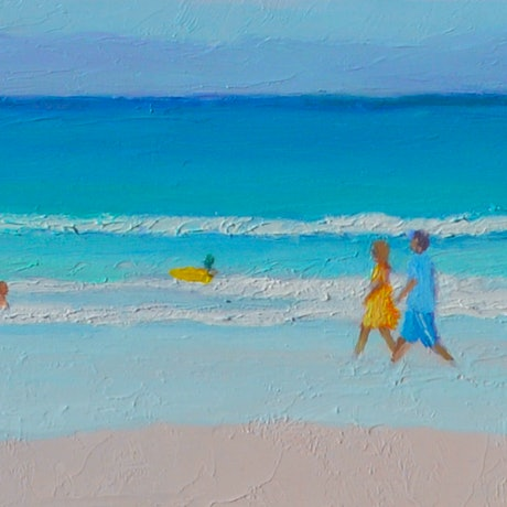 (CreativeWork) BYRON BAY SURFERS - FRAMED PANORAMA by Jan Matson. Oil Paint. Shop online at Bluethumb.