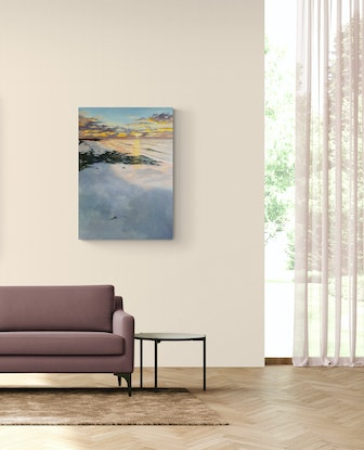 (CreativeWork) Sunset at Cervantes by shelley higham. Oil Paint. Shop online at Bluethumb.