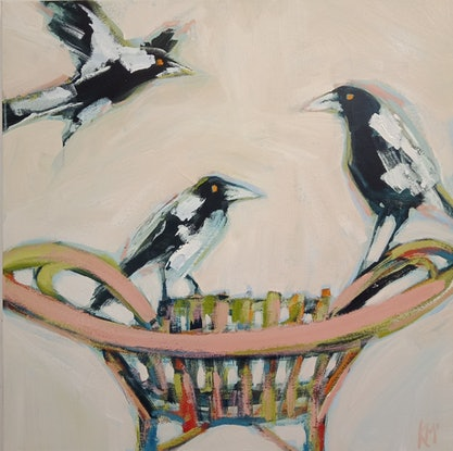 (CreativeWork) MUSICAL CHAIRS by Karen McPhee. Acrylic Paint. Shop online at Bluethumb.