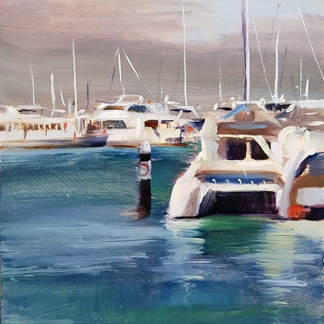 (CreativeWork) Hillarys Boat Harbour by shelley higham. Oil Paint. Shop online at Bluethumb.