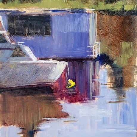 (CreativeWork) River Views Maylands by shelley higham. Oil Paint. Shop online at Bluethumb.