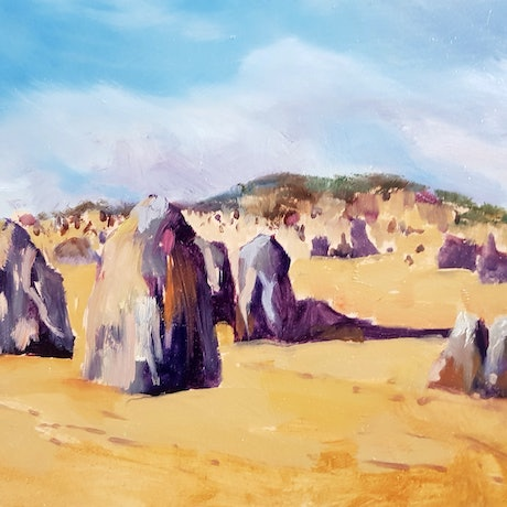 (CreativeWork) The Pinnacles by shelley higham. Oil Paint. Shop online at Bluethumb.