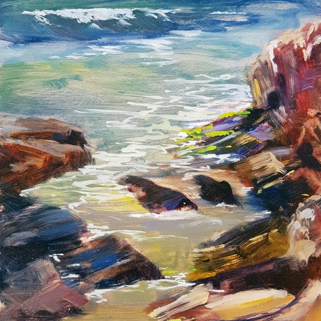 (CreativeWork) Low Tide Burns Beach by shelley higham. Oil Paint. Shop online at Bluethumb.
