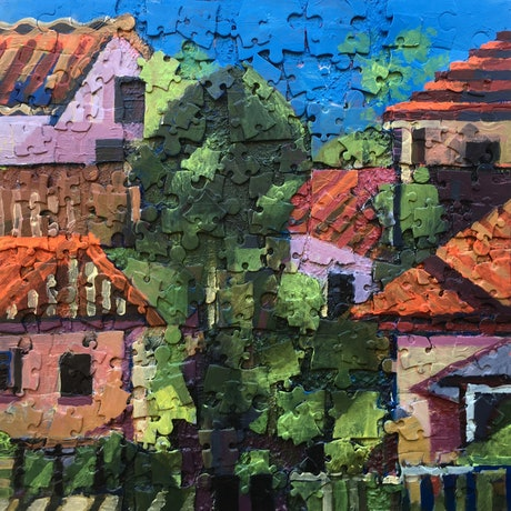(CreativeWork) Suburban Scene by Ralph Ross. Mixed Media. Shop online at Bluethumb.
