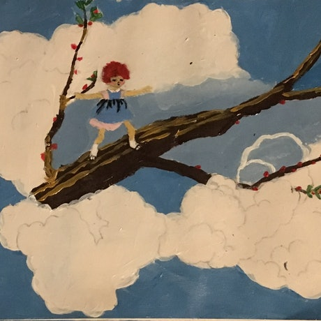 (CreativeWork) In the clouds by Harriet Lionheart. Acrylic Paint. Shop online at Bluethumb.