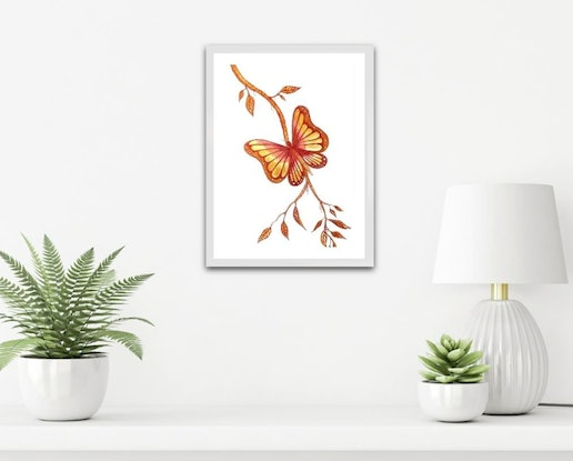 (CreativeWork) Golden Butterfly (Framed) by Linda Callaghan. Watercolour Paint. Shop online at Bluethumb.