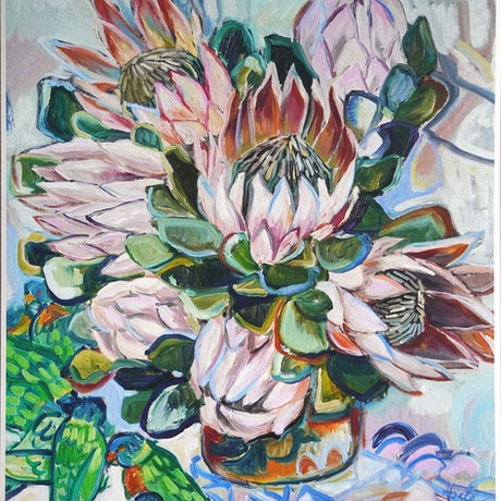 (CreativeWork) King Proteas and Lorikeets Lim.Ed. 2 of 30 Ed. 2 of 30 by Katerina Apale. Print. Shop online at Bluethumb.