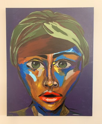(CreativeWork) Monday Blues on Green Eyed Girl  by Ginsten _. Acrylic Paint. Shop online at Bluethumb.