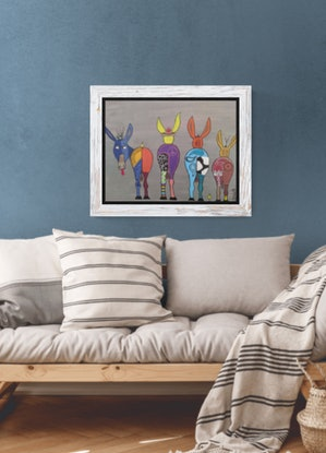 (CreativeWork) Whimsical Donkeys by Dawn Watts. Acrylic Paint. Shop online at Bluethumb.
