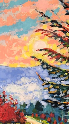 (CreativeWork) Morning ride through the National Arboretum. by Valentyna Crane. Acrylic Paint. Shop online at Bluethumb.