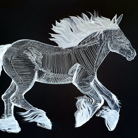 (CreativeWork) Big Blue Roan by Liz H Lovell. Drawings. Shop online at Bluethumb.