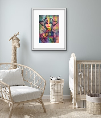 (CreativeWork) Lady Butterfly by Karin Zeller. Watercolour Paint. Shop online at Bluethumb.