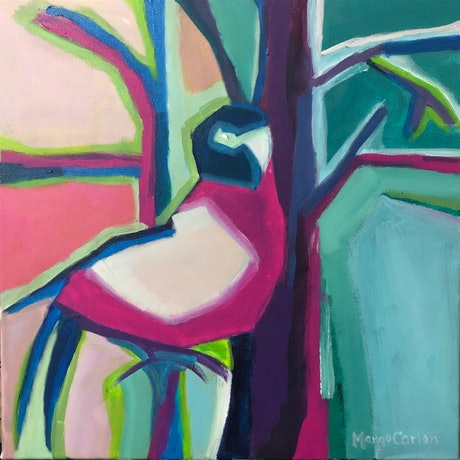 (CreativeWork) Perched High in the Treetops  by Margo Carlon. Acrylic Paint. Shop online at Bluethumb.