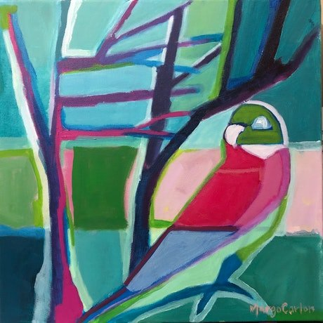 (CreativeWork) Parrot in Rainbow of Plumes  by Margo Carlon. Acrylic Paint. Shop online at Bluethumb.