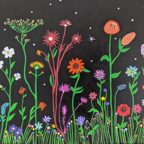 (CreativeWork) Evening Wildflowers by Dawn Watts. Acrylic Paint. Shop online at Bluethumb.