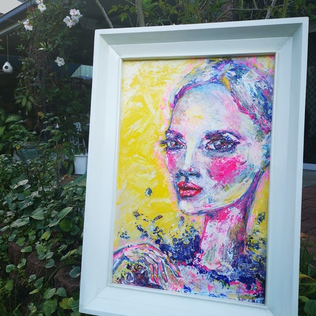 (CreativeWork) Madame Butterfly Framed 76 x 109cm by Luisa Manea. Acrylic. Shop online at Bluethumb.