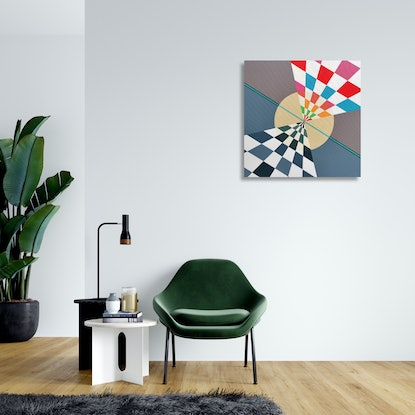 (CreativeWork) Travelling to the other side of the moon by Min Ray. Acrylic Paint. Shop online at Bluethumb.