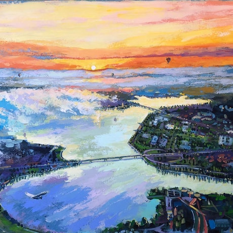 (CreativeWork) Dreams of the City  by Valentyna Crane. Acrylic Paint. Shop online at Bluethumb.
