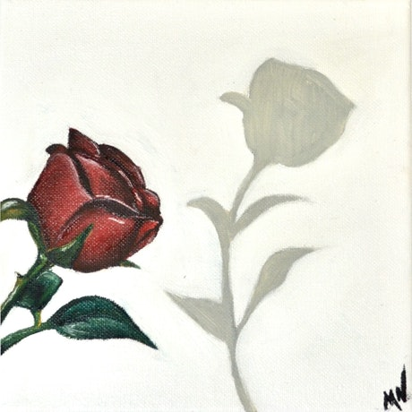 (CreativeWork) Shadow of a rose by Mikaela Nichols. Oil Paint. Shop online at Bluethumb.