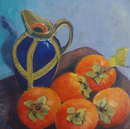(CreativeWork) Persimmons by Christine Richman. Oil Paint. Shop online at Bluethumb.