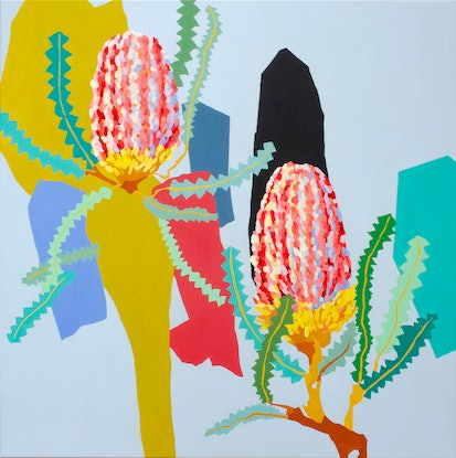 (CreativeWork) Banksias by Lydie Paton. Acrylic Paint. Shop online at Bluethumb.