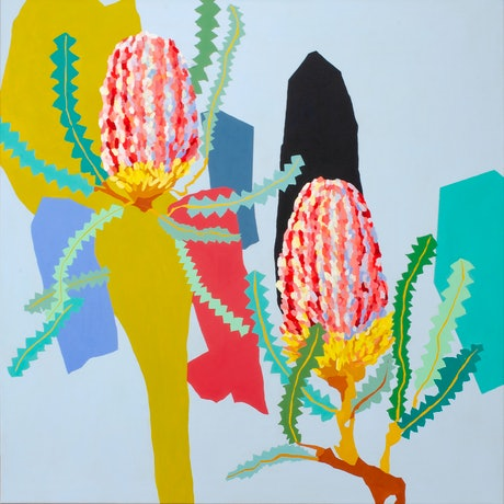 (CreativeWork) Banksias (A) by Lydie Paton. Acrylic. Shop online at Bluethumb.
