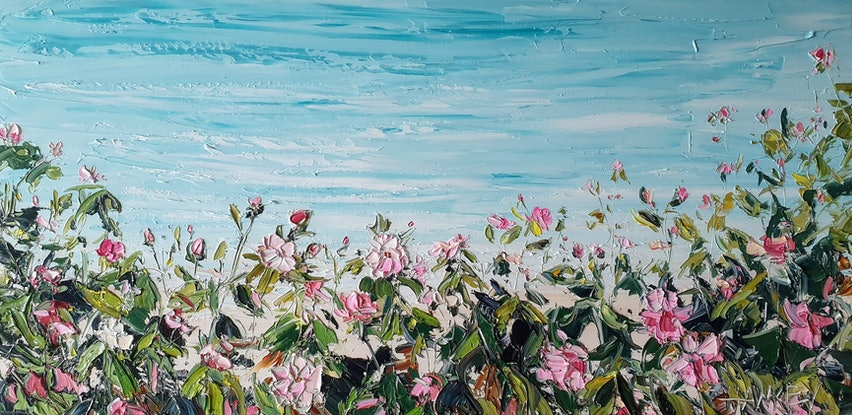 (CreativeWork) Roses By The Sea by Angela Hawkey. Oil Paint. Shop online at Bluethumb.
